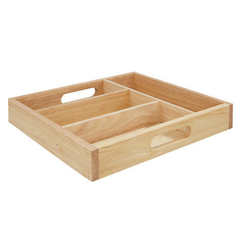 Buy Rubberwood Cutlery Tray, 4 Compartments Online at johnlewis.com