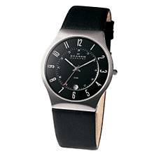 Buy Skagen 233XXLSLB Men's Leather Strap Watch, Black Online at johnlewis.com