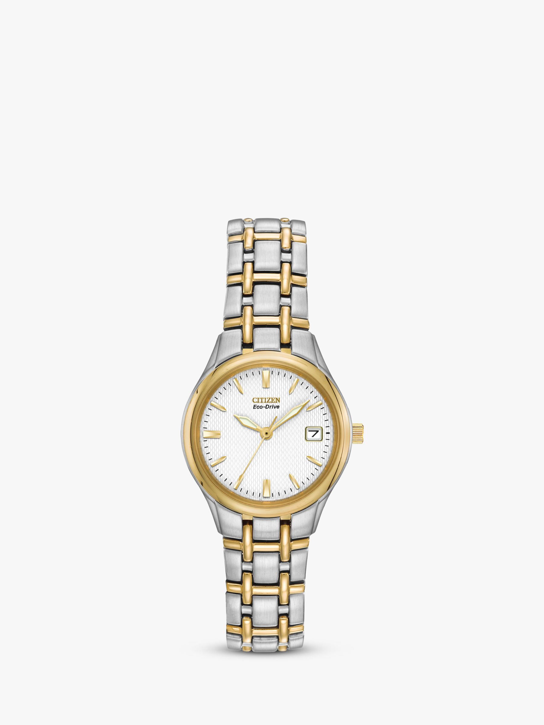 Citizen Citizen EW1264-50A Women's Eco-Drive Two Tone Bracelet Strap Watch, Gold/Silver