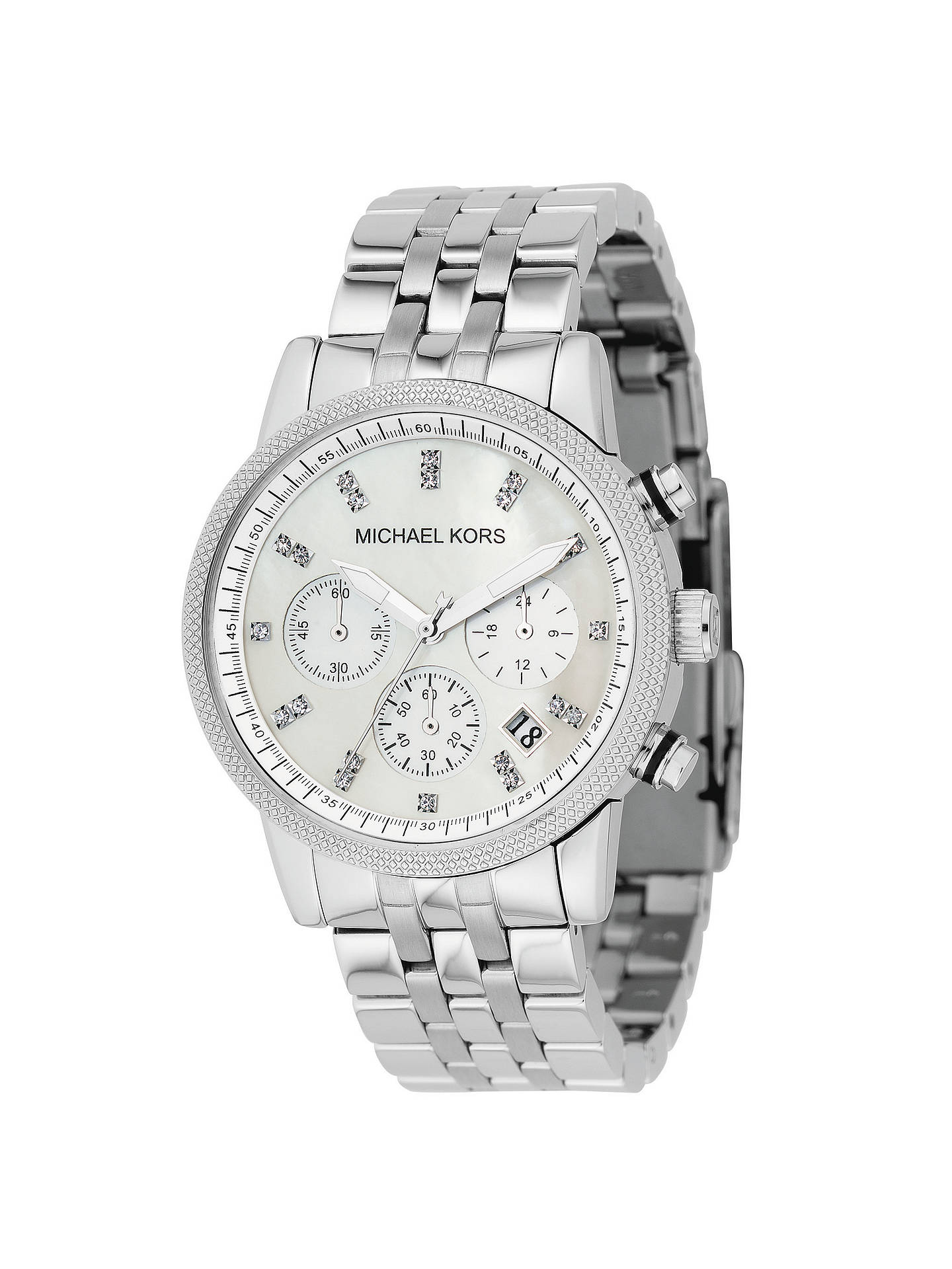 e9c5654cbe27 Buy Michael Kors MK5020 Women s Ritz Chronograph Stainless Steel Bracelet  Strap Watch