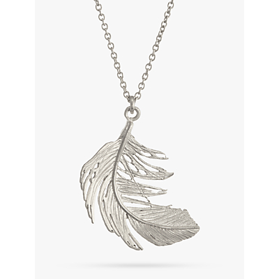 Product photo of Alex monroe big single feather necklace silver