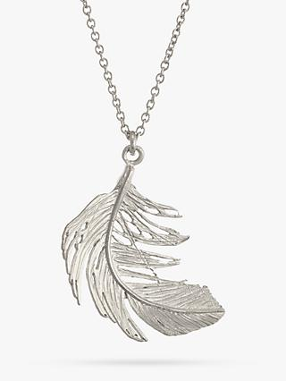 Alex Monroe Big Single Feather Necklace, Silver