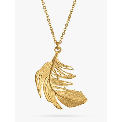 Product photo of Alex monroe big single feather pendant necklace gold