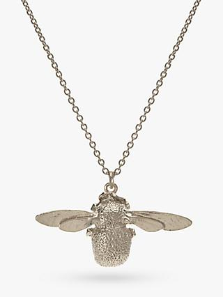 Alex Monroe Sterling Silver Bumble Bee Pendant Necklace, Silver