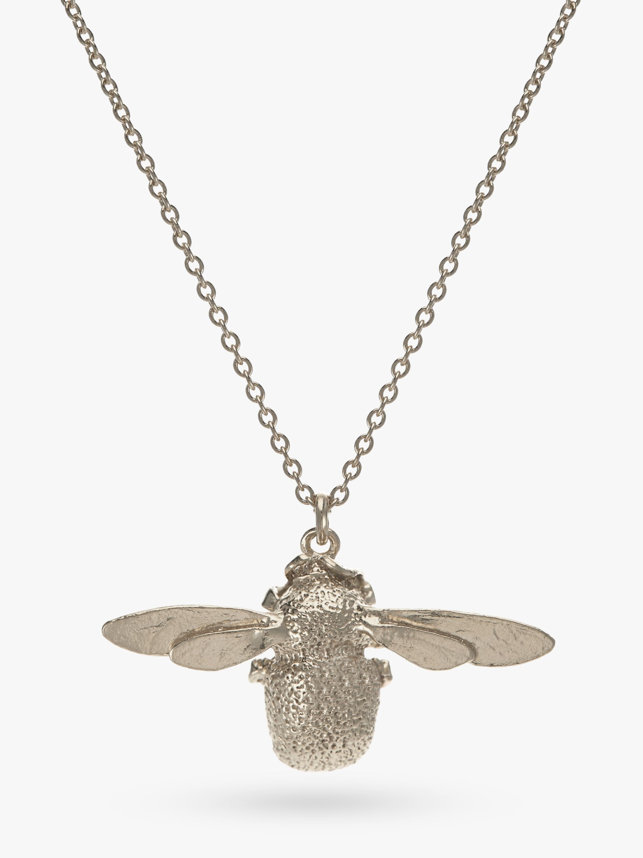 Alex Monroe Alex Monroe Sterling Silver Bumble Bee Pendant Necklace, Silver