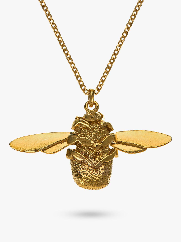 Alex Monroe Alex Monroe 22ct Gold Vermeil Bumble Bee Pendant Necklace, Gold