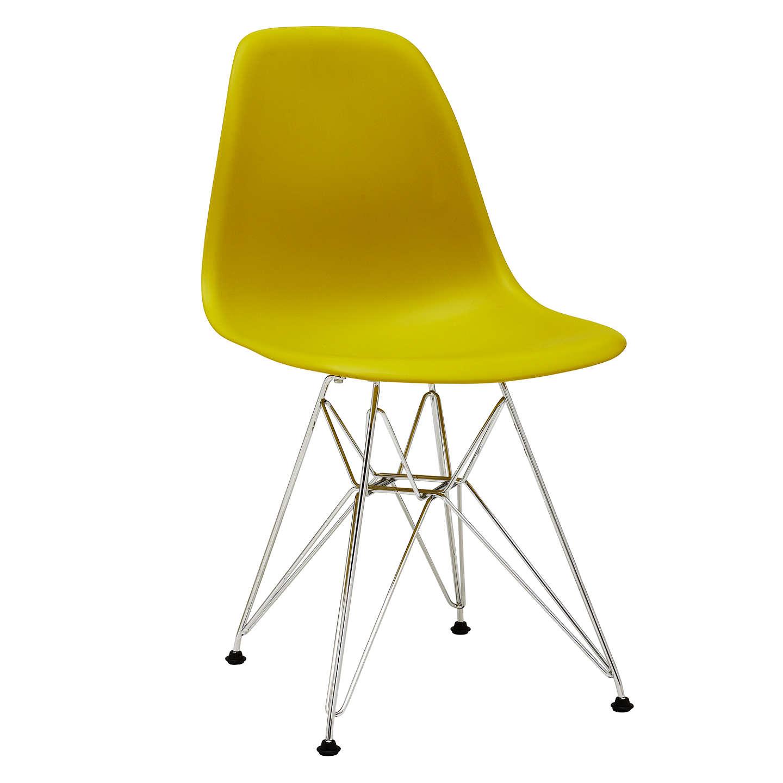 BuyVitra Eames DSR Side Chair, Chrome Leg, Mustard Online At Johnlewis.com