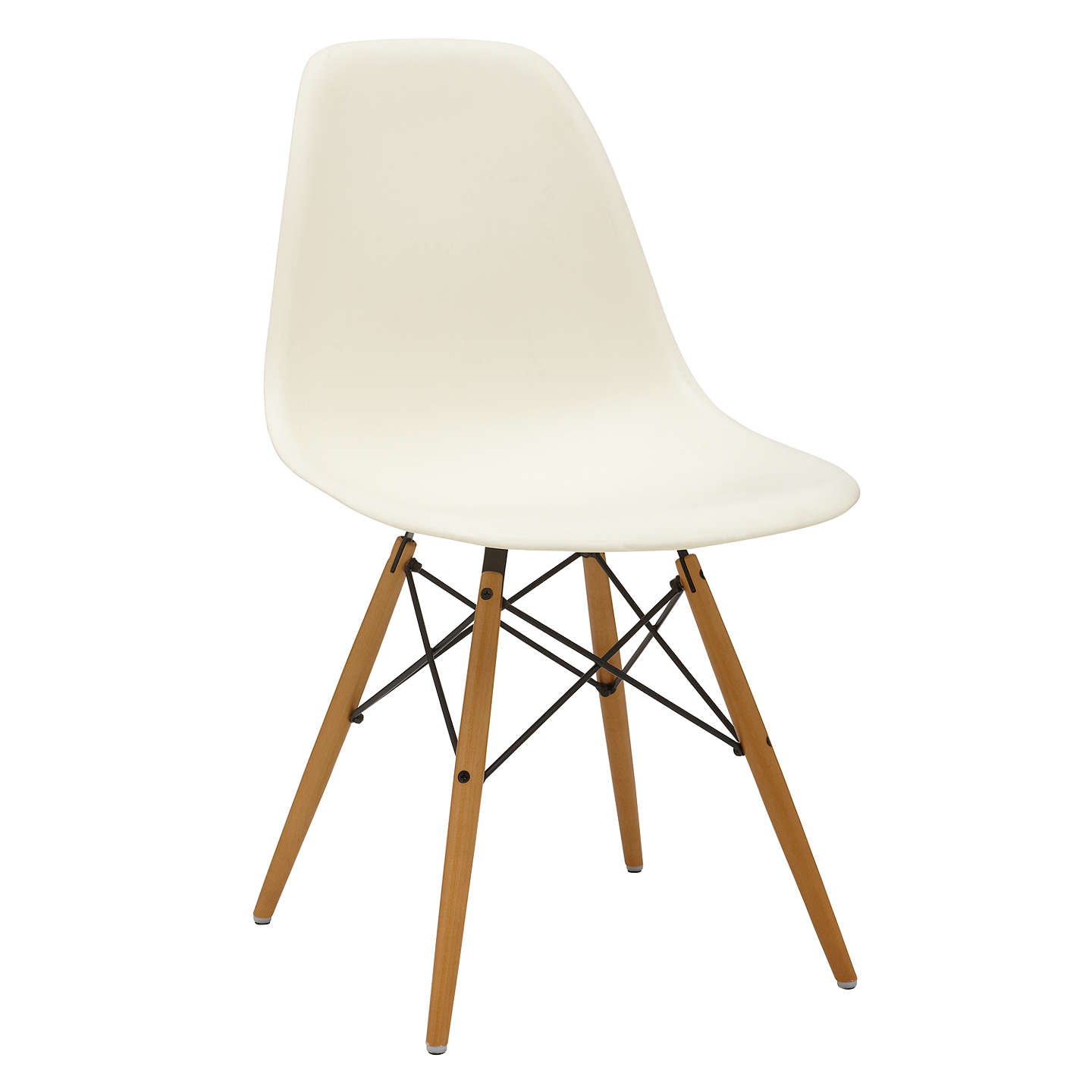 BuyVitra Eames DSW Side Chair, Light Maple Leg, Cream Online At  Johnlewis.com ...