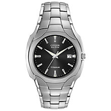 Buy Citizen BM6560-54H Men's Eco-Drive Titanium Bracelet Strap Watch, Silver/Black Online at johnlewis.com