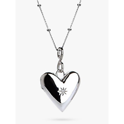 Image of Hot Diamonds Addicted to Love Locket Pendant Necklace, Silver