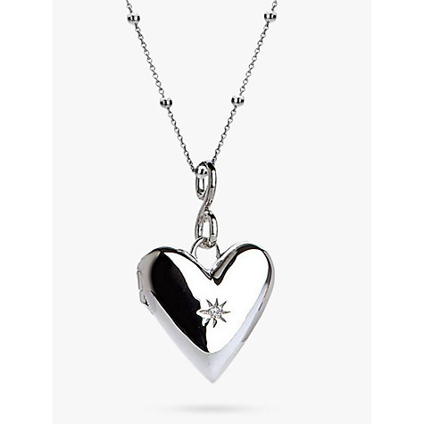Buy Hot Diamonds Addicted to Love Locket Pendant Necklace, Silver Online at johnlewis.com