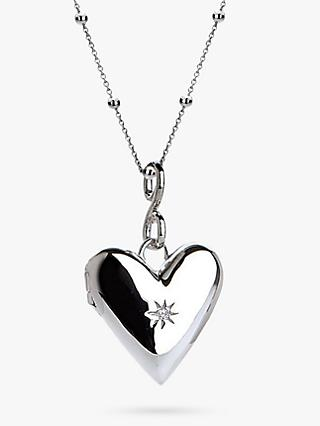 Hot Diamonds Addicted to Love Locket Pendant Necklace, Silver