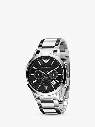 7df7a03c9 Emporio Armani AR2434 Men's Chronograph Date Bracelet Strap Watch, Silver/ Black. Quick view
