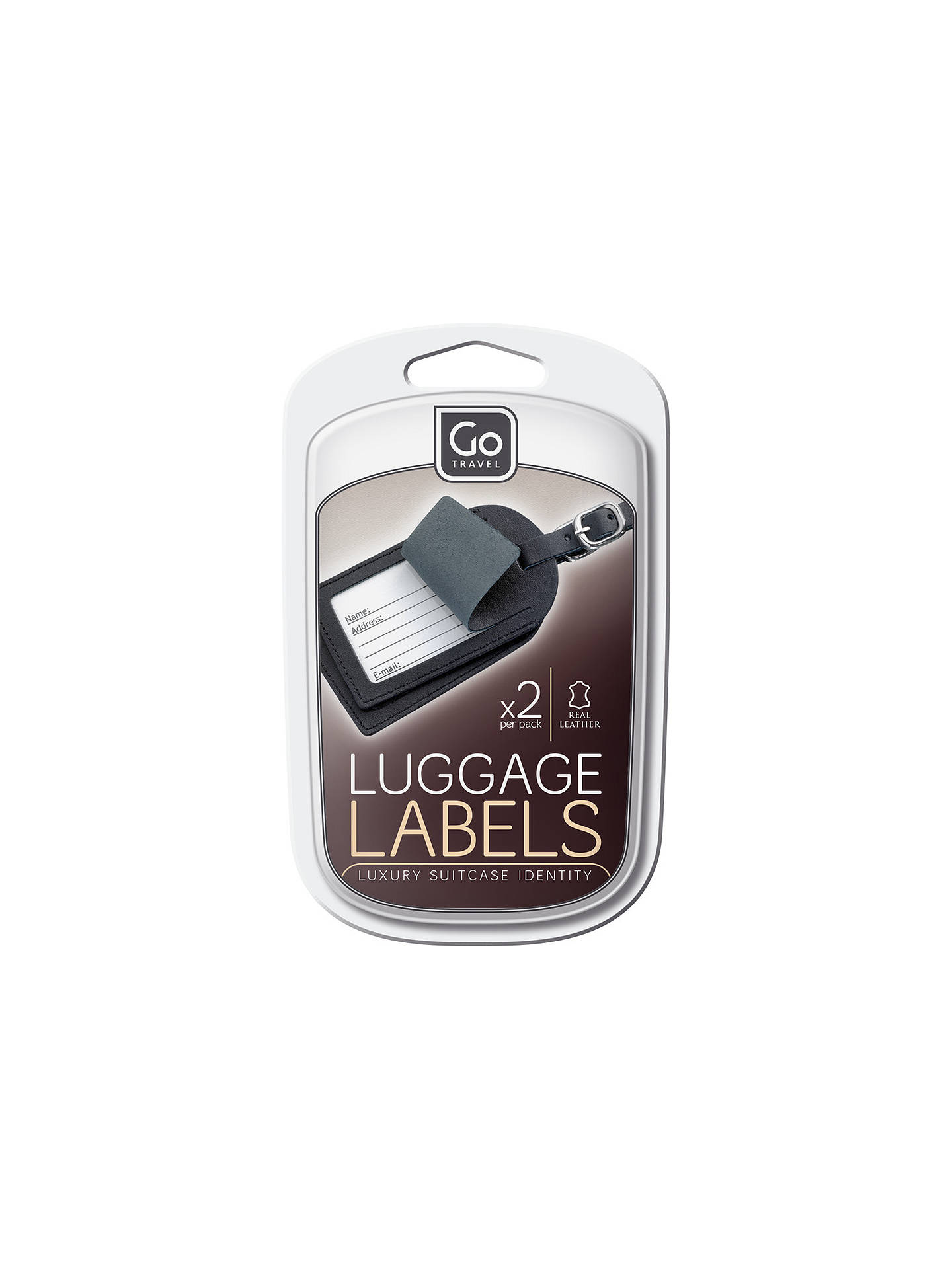 BuyGo Travel Leather Luggage Tag, Set of 2, Black/Brown Online at johnlewis.com