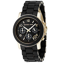 Buy Michael Kors MK5191 Women's Chronograph Rubber Strap Watch, Black Online at johnlewis.com