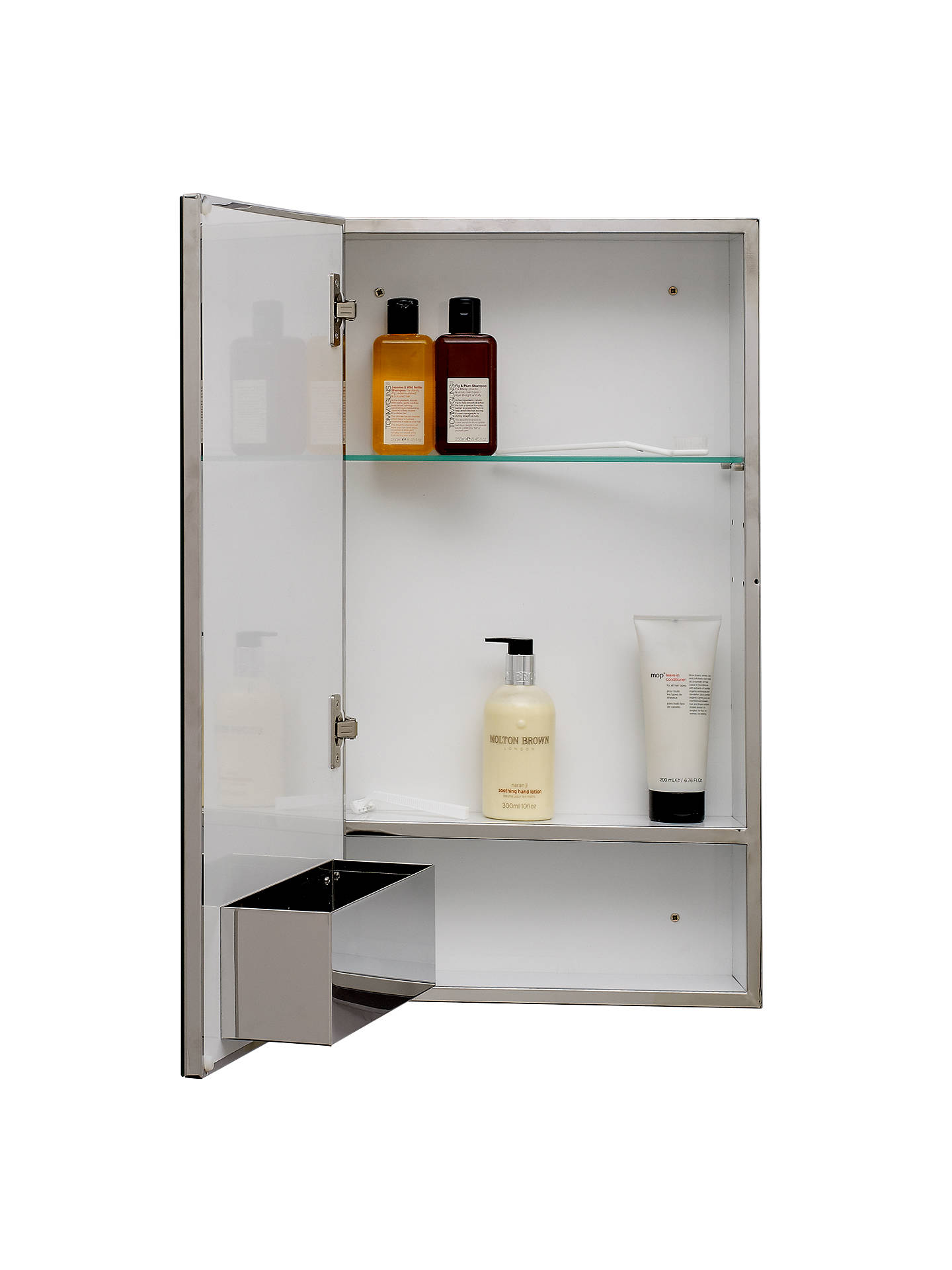 John Lewis Partners Single Mirrored Bathroom Cabinet Large Stainless Steel At Johnlewis