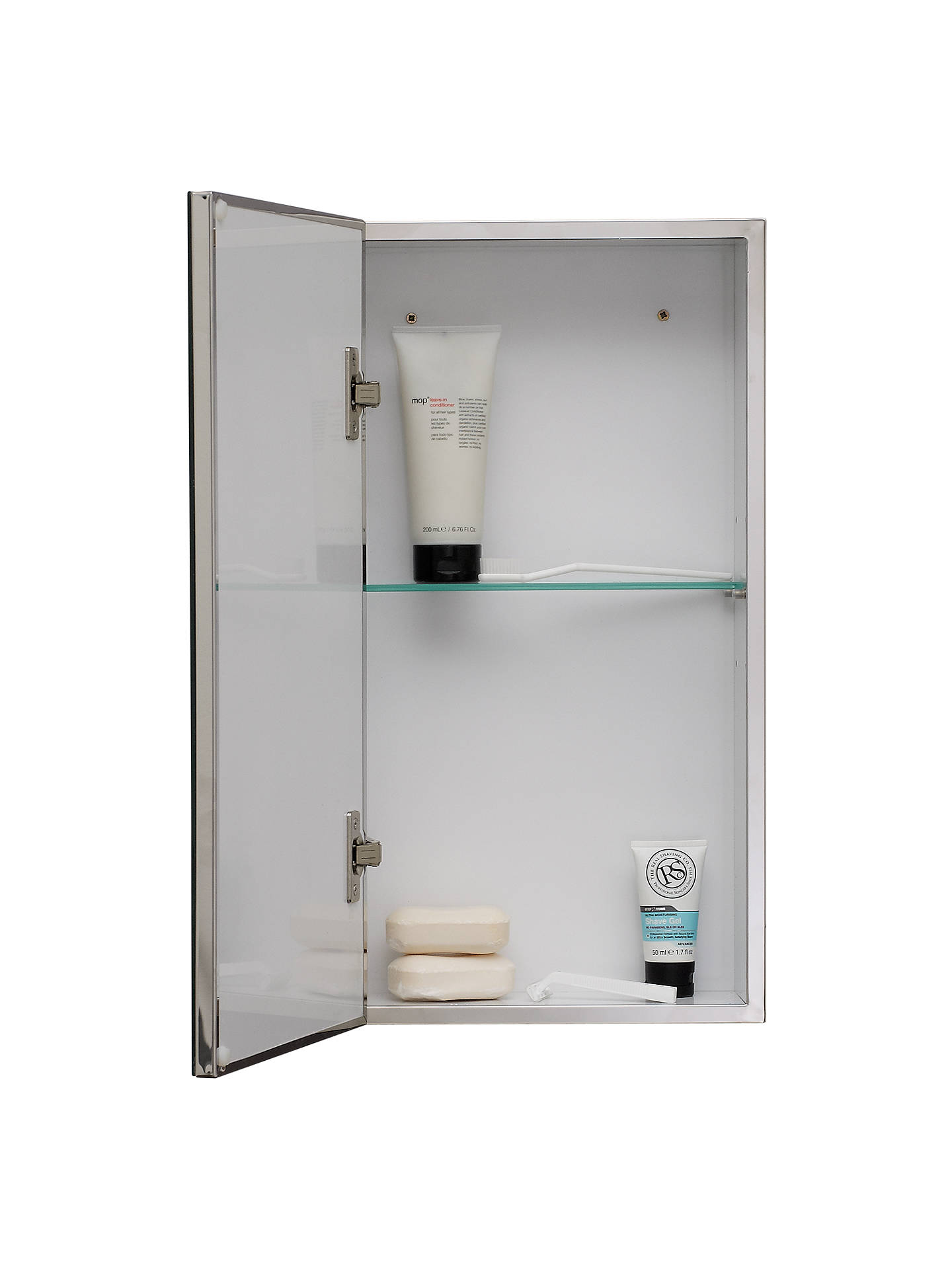 John Lewis Single Mirrored Bathroom Cabinet, Small, Stainless Steel ...