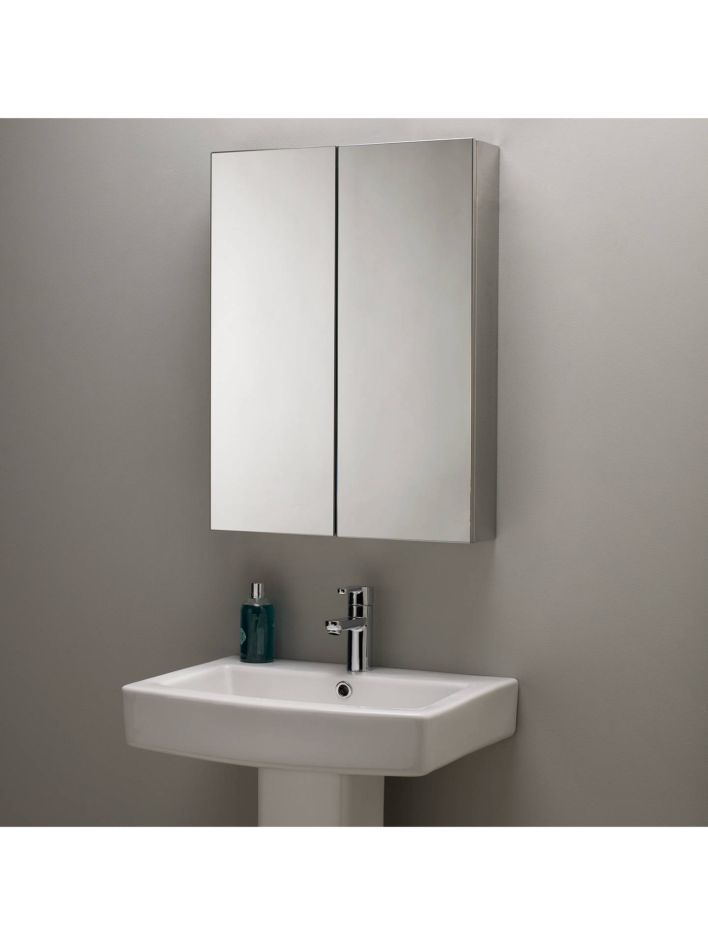 John Lewis Partners Double Mirrored Bathroom Cabinet Stainless Steel Online At Johnlewis