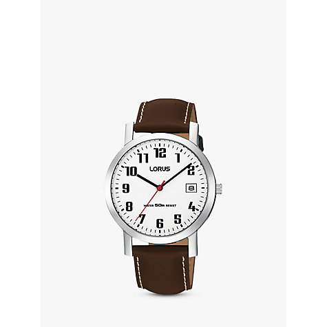 Buy Lorus RXH65EX9 Men's Date Leather Strap Watch, Brown/White Online at johnlewis.com
