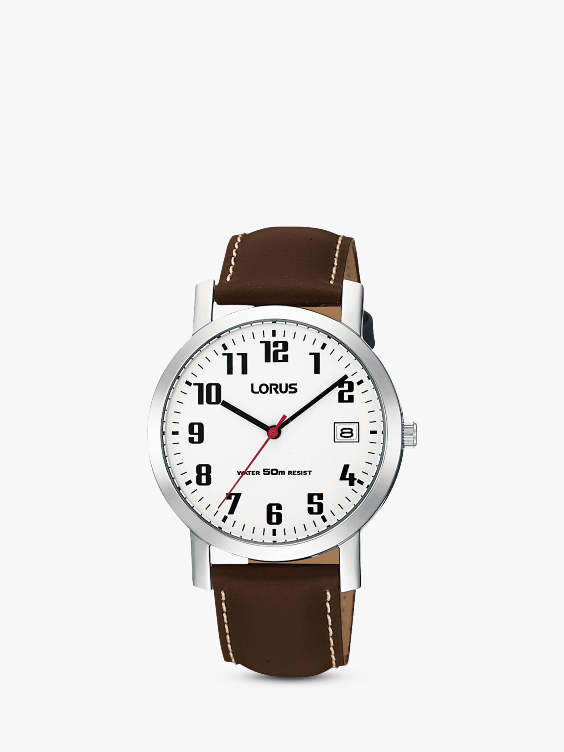 Lorus Lorus RXH65EX9 Men's Date Leather Strap Watch, Brown/White