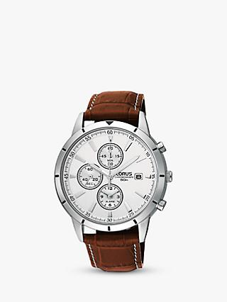 Lorus RF325BX9 Men's Chronograph Date Leather Strap Watch, Brown/White