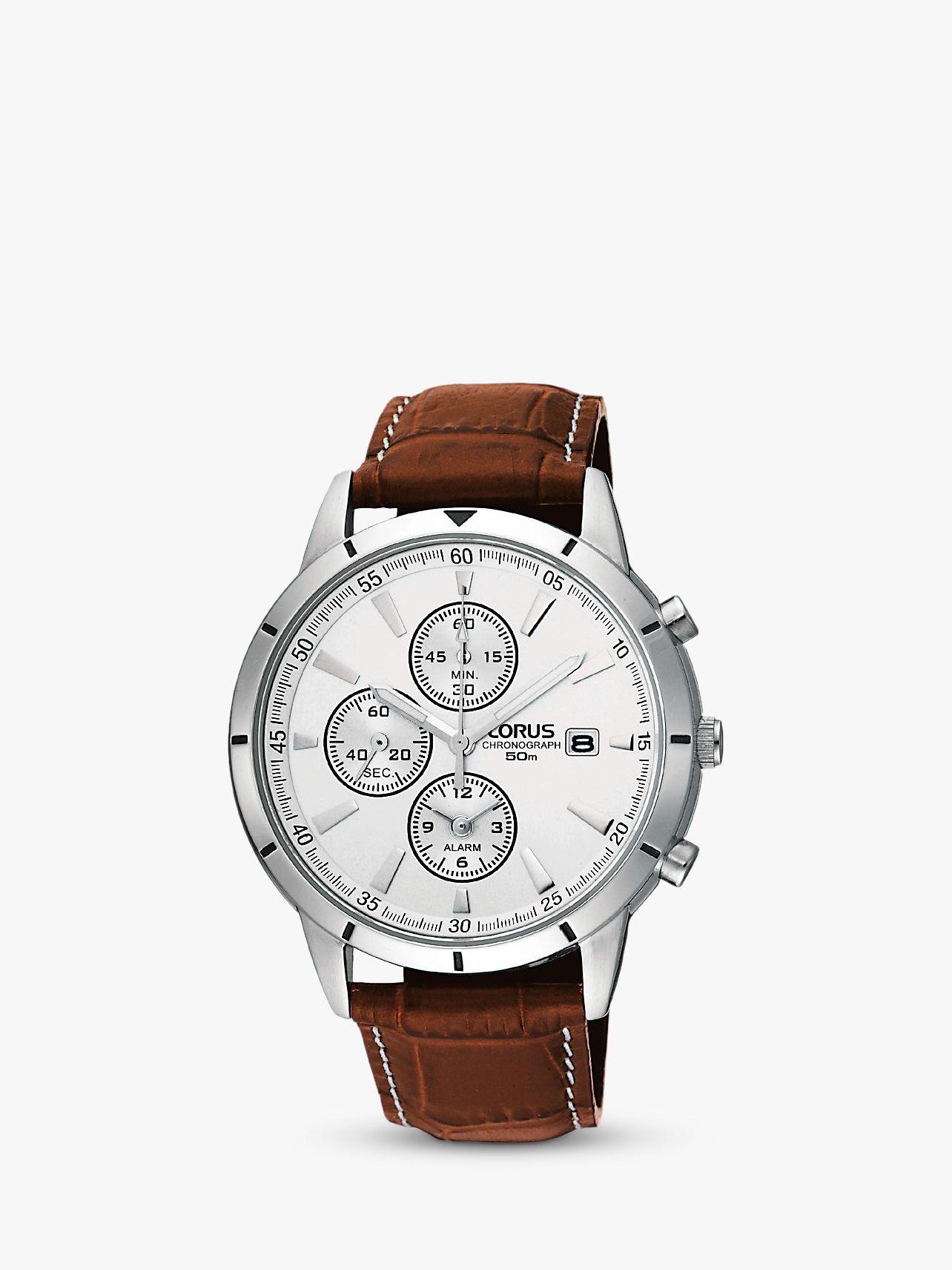 Lorus Lorus RF325BX9 Men's Chronograph Date Leather Strap Watch, Brown/White