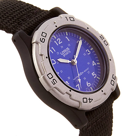 Buy Lorus RRS59FX9 Boys' Fabric Strap Watch, Black/Blue Online at johnlewis.com