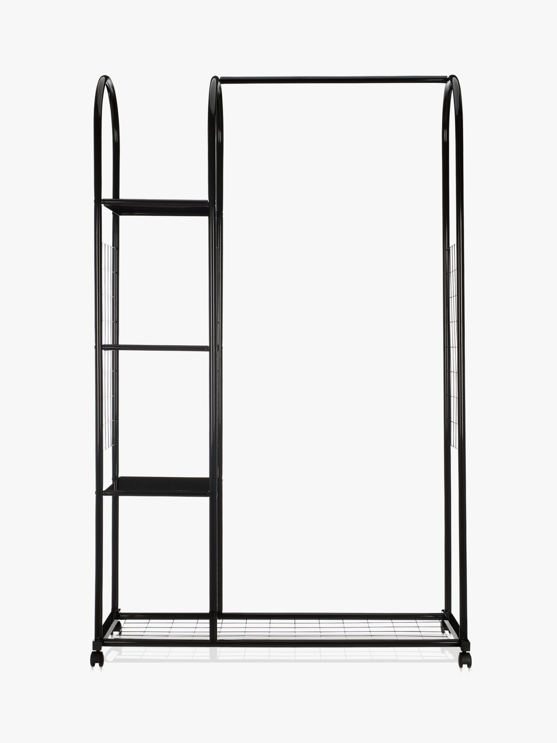 John Lewis & Partners Clothes Rail with Shelf Unit, Black