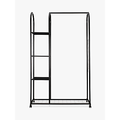 John Lewis Clothes Rail with Shelf Unit, Black