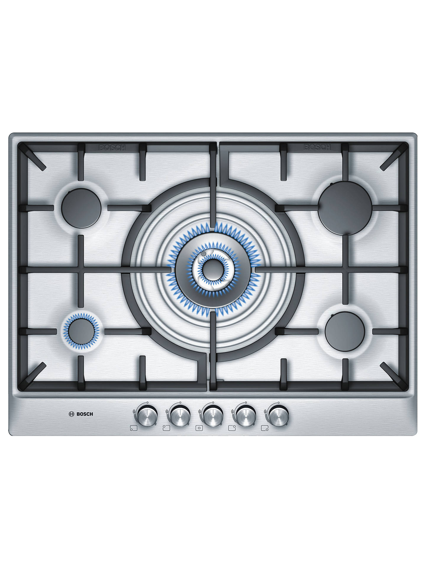 Buy Bosch PCQ715B90E Gas Hob, Stainless Steel Online at johnlewis.com