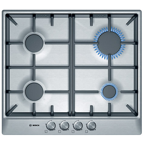 Buy Bosch PCP615B90B Gas Hob, Brushed Steel Online at johnlewis.com