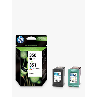 Image of HP 350 Black and 351 Colour Inkjet Cartridges, Pack of 2, SD412EE