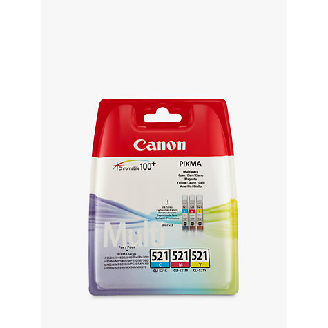Buy Canon CL-521 Colour Inkjet Cartridge Multipack Online at johnlewis.com