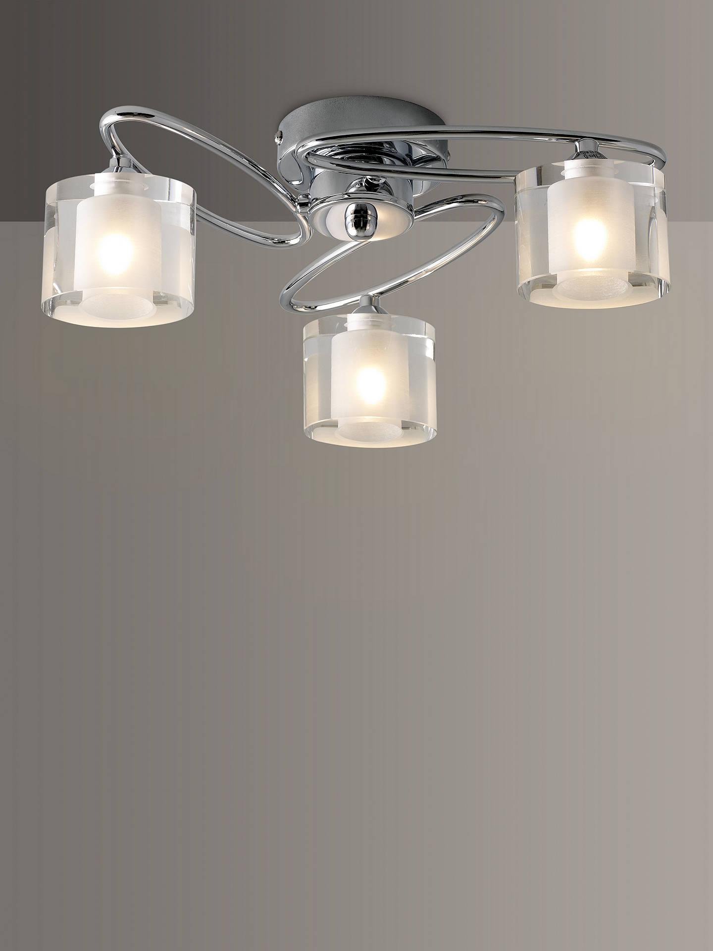 Buy john lewis partners zola semi flush 3 arm ceiling light chrome online at