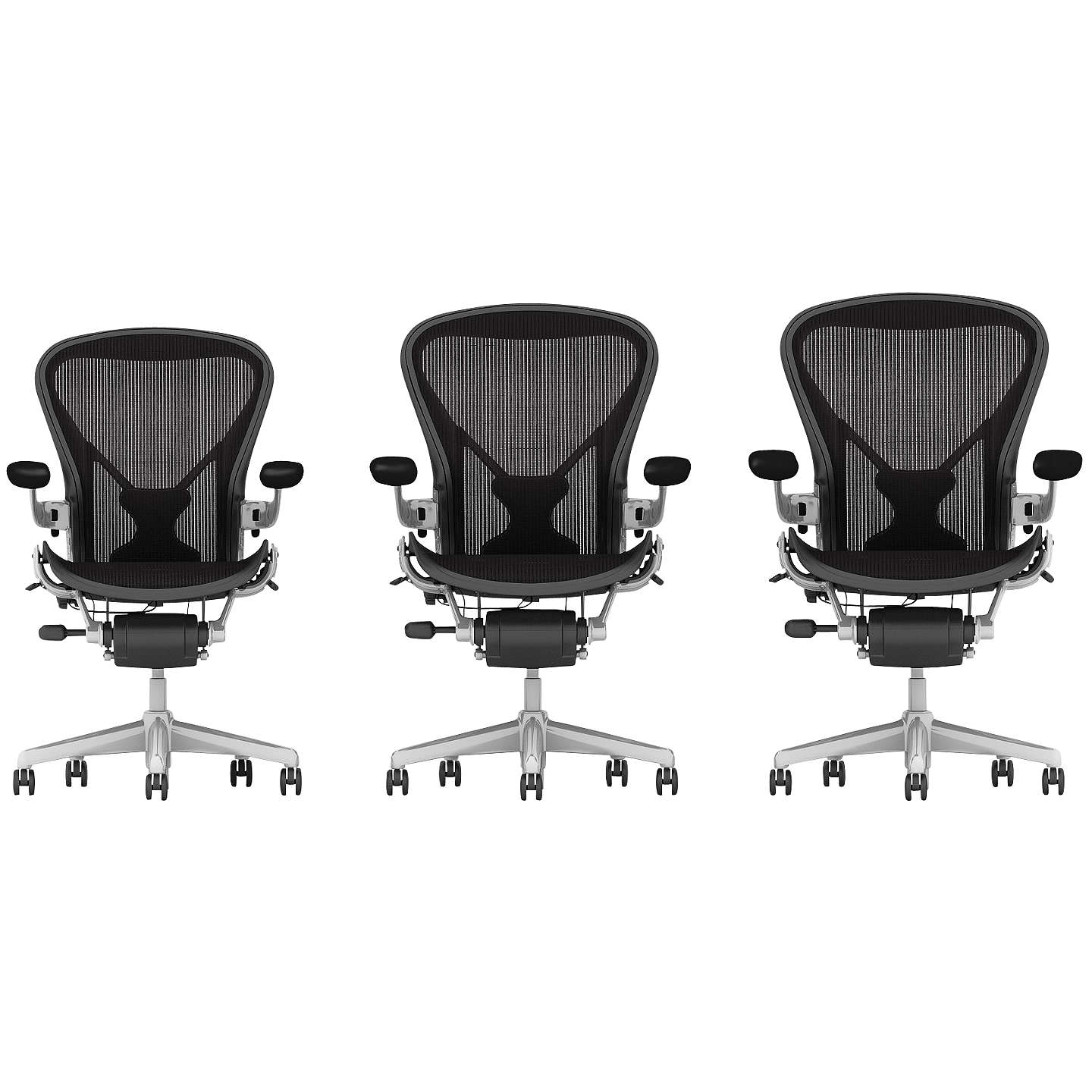 Herman Miller Classic Aeron Office Chair Size A Polished Aluminium At Johnlewis