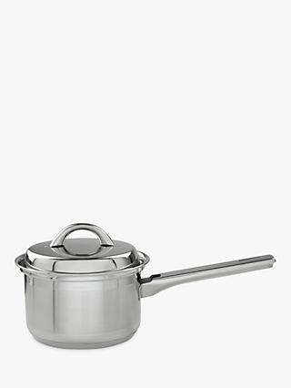 John Lewis & Partners Classic Stainless Steel Lidded Saucepan