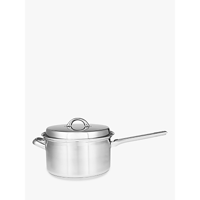 John Lewis Classic Lidded Saucepan with Helper Handle, 22cm, 3.7L