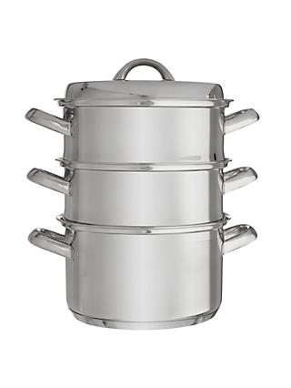 ohn Lewis & Partners Classic Stainless Steel 20cm Steamer Set with Lid, 3 Piece