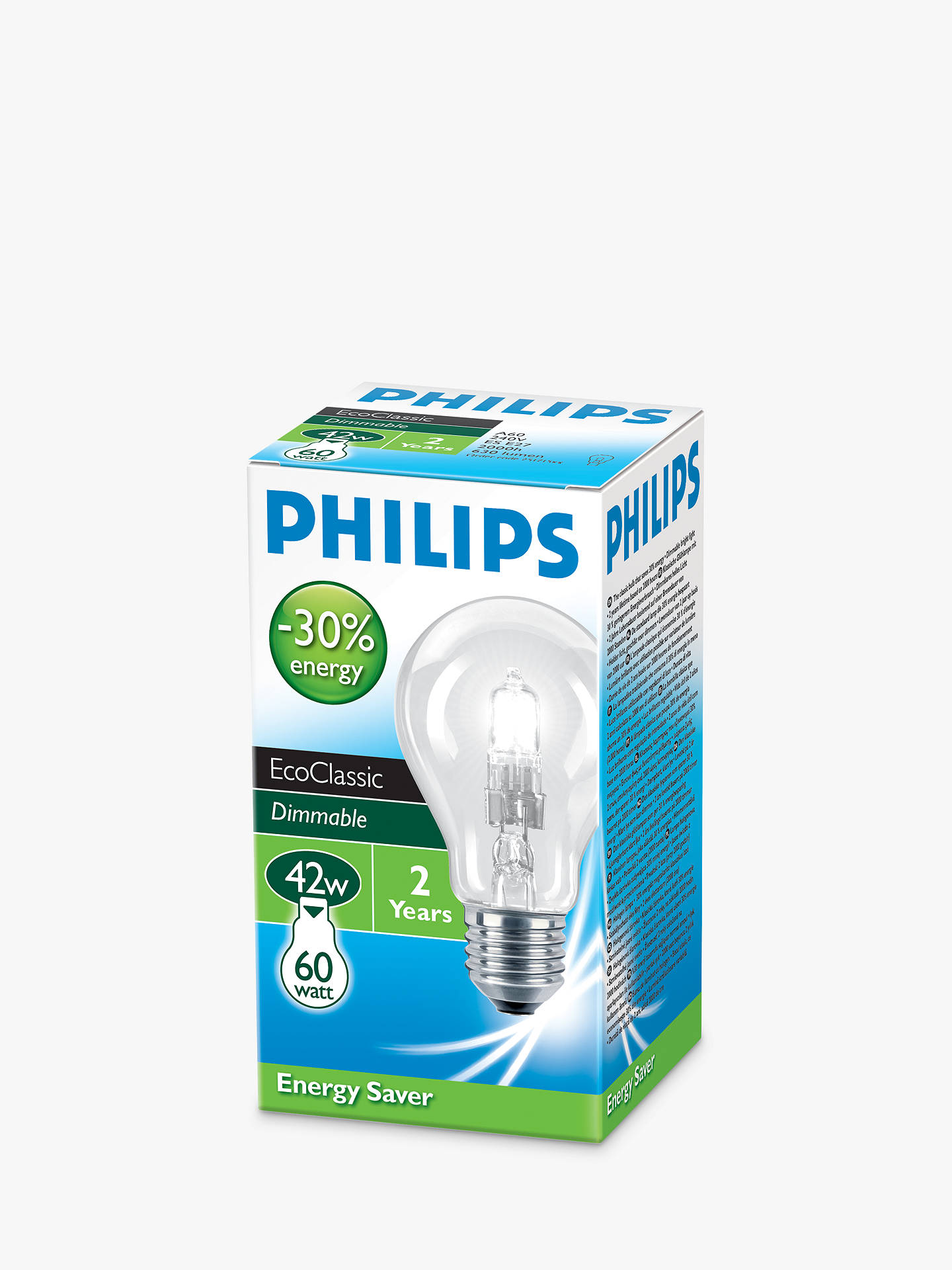 BuyPhilips 42W ES Halogen Classic Bulb, Clear Online at johnlewis.com