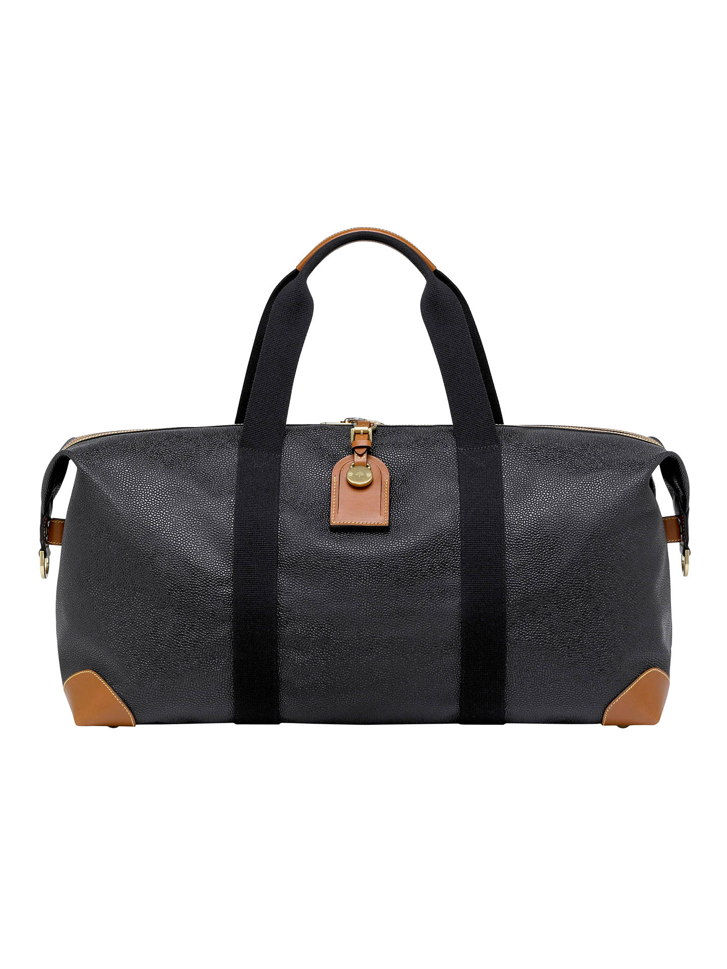 BuyMulberry Scotchgrain Clipper Holdall, Black/Cognac, One size Online at johnlewis.com