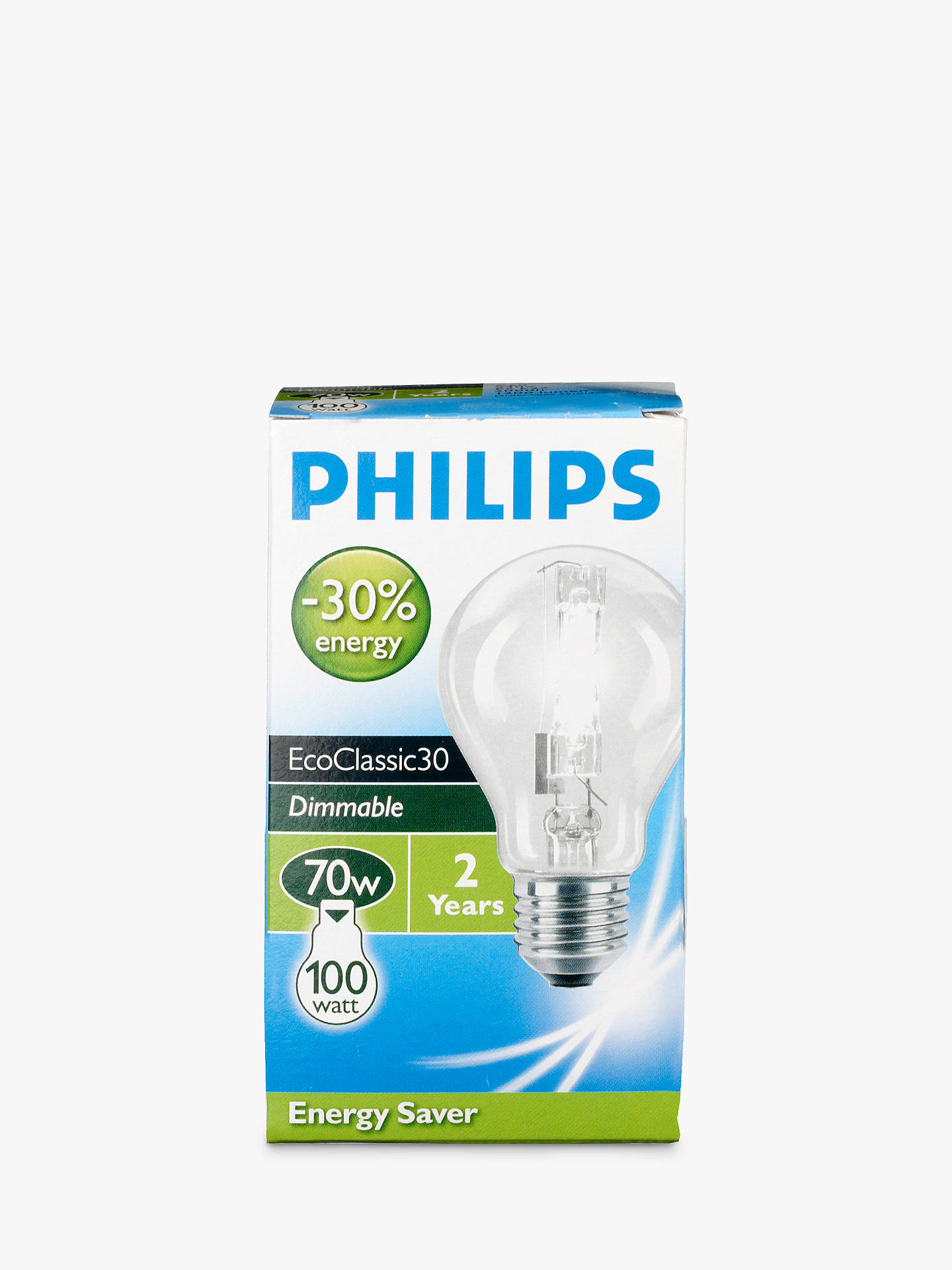 BuyPhilips 70W ES Eco Halogen Classic Bulb, Clear Online at johnlewis.com