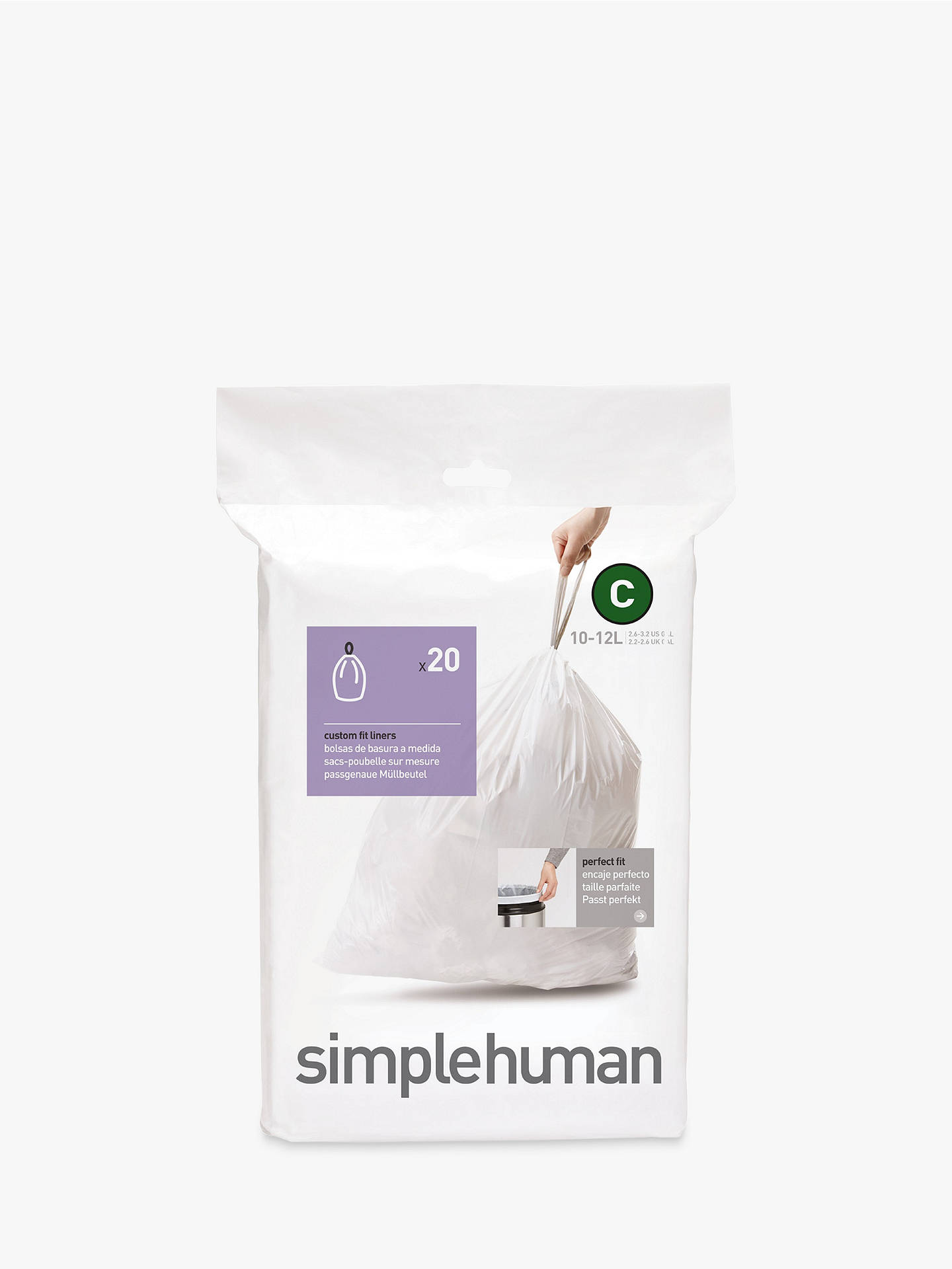 Buy simplehuman Bin Liners, Size C, Pack of 20 Online at johnlewis.com