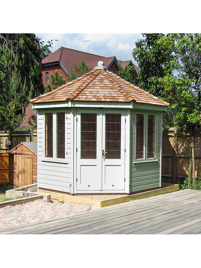 Buy Crane Garden Buildings 3 x 3m Round Pavilion Summerhouse, FSC-certified (Scandinavian Redwood), Sage Online at johnlewis.com