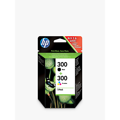 Product photo of Hp 300 inkjet cartridge tricolour black pack of 2 cn637ee