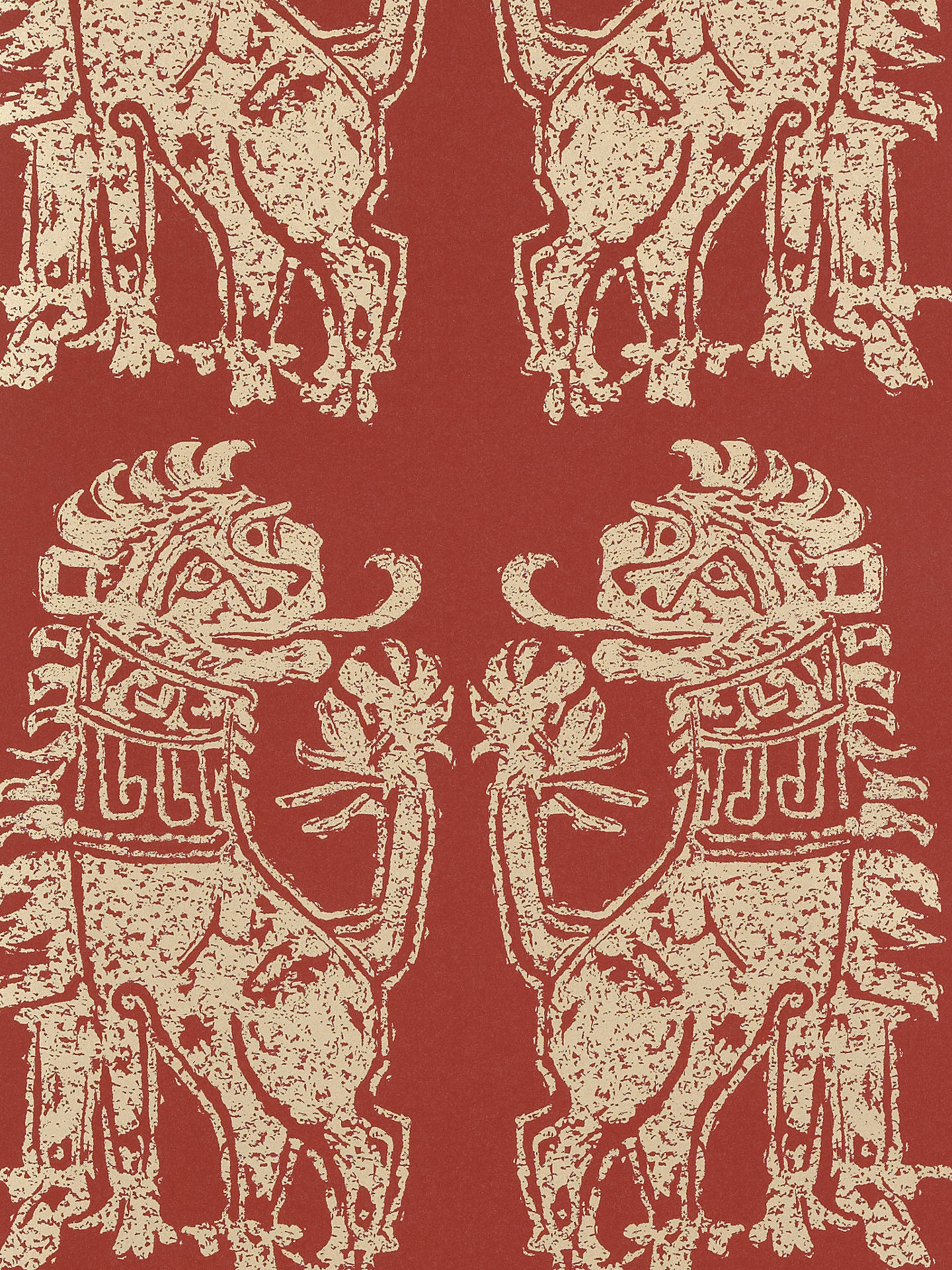Buy Sanderson Sicilian Lions Wallpaper, DVIWSI103, Red / Gold Online at johnlewis.com