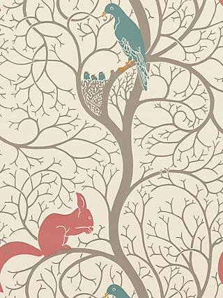 Sanderson Squirrel & Dove Wallpaper, DVIWSQ102, Teal / Red