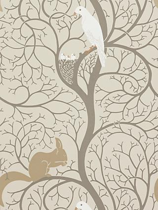 Sanderson Squirrel & Dove Wallpaper, DVIWSQ101, Linen / Ivory