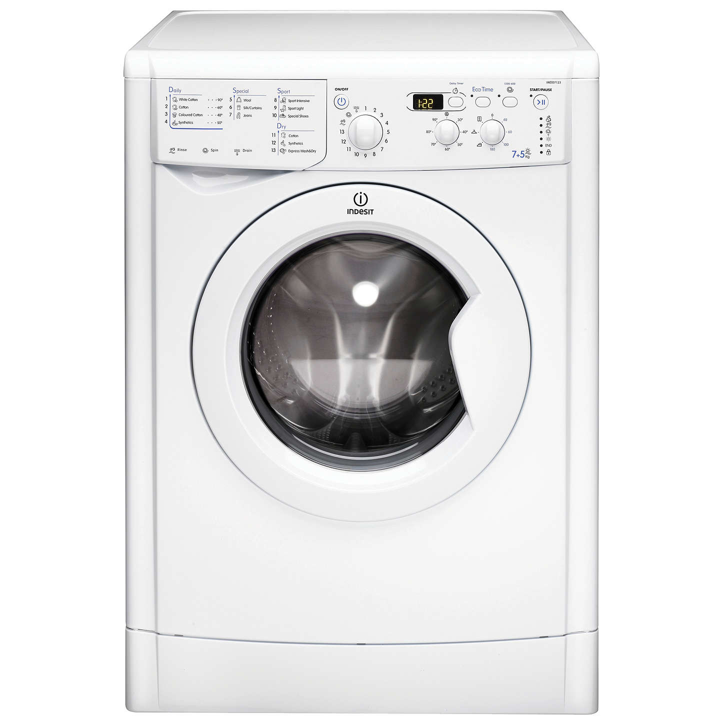 BuyIndesit IWDD7123 Washer Dryer, 7kg Wash/5kg Dry Load, B Energy Rating, 1200rpm Spin, White Online at johnlewis.com