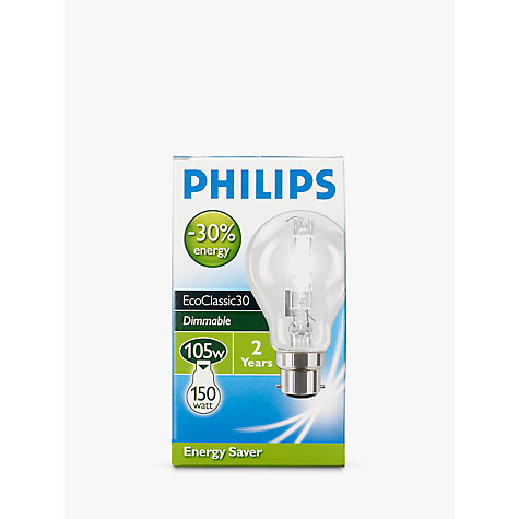 Buy Philips 105W BC Halogen Classic Bulb, Clear Online at johnlewis.com