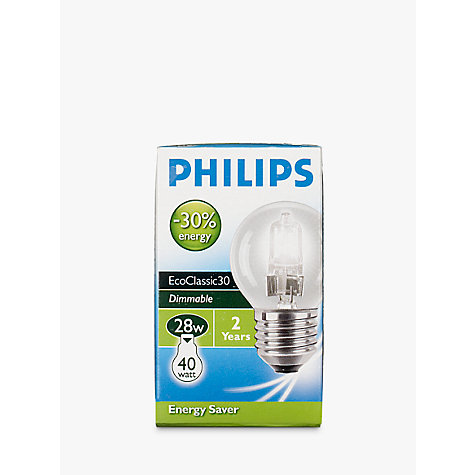 Buy Philips 28W ES Halogen Classic Golf Ball Bulb, Clear Online at johnlewis.com